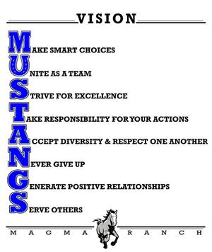 Magma Ranch Vision: Make Smart Choices, Unite as a team, Strive for excellence, Take responsibility for your actions, Accept diversity and respect one another, Never give up, Generate positive relationships, Serve others.