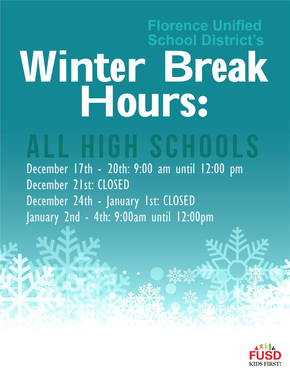 High School Winter Break Hours - December 17th -20th 9am til noon and January 2nd - 4th 9am til noo