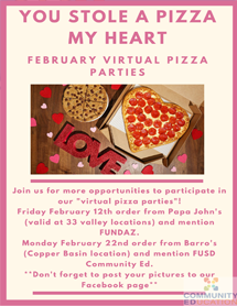 February Pizza Parties Flyer image