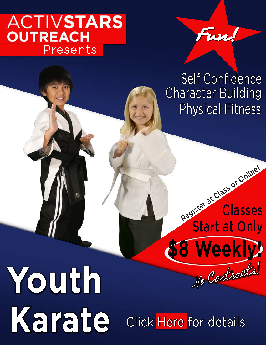 Photo of the front flyer for Active Stars Karate, for more info, please call 480-603-3780