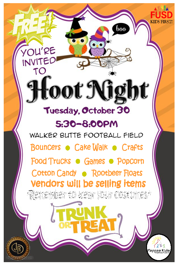 Hoot Night Flyer.  Hoot night is on October 30 from 5:30-8:00pm at Walker Butte.