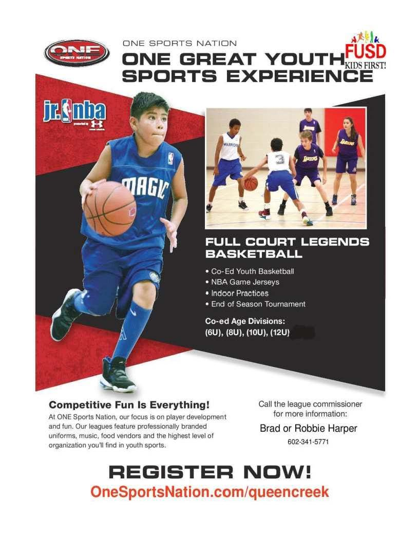 This flyer contains sign up information for the One Sports Nation Sports Program 602-341-5771