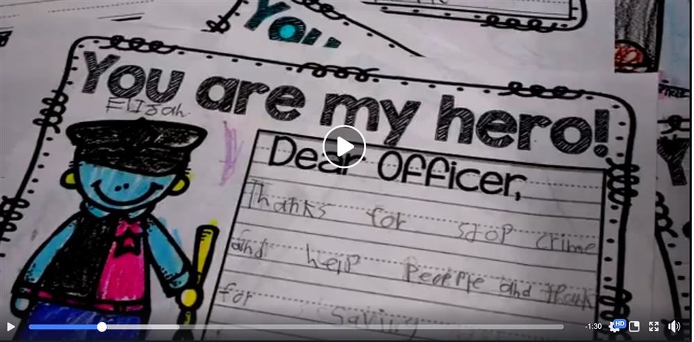 Image thumbnail of facebook video showing thank you letters from San Tan Heights K-8 to the PCSO.