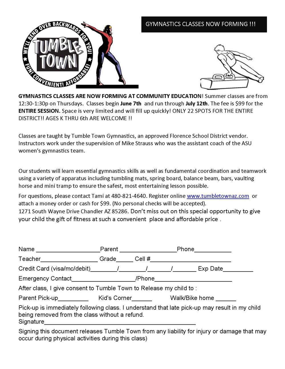 This flyer contains sign up information for tumble town.